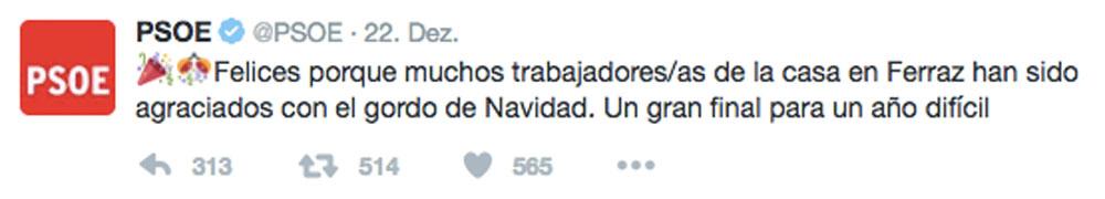 """Die PSOE teilt """"El Gordo"""" Gewinn auf Twitter mit."""